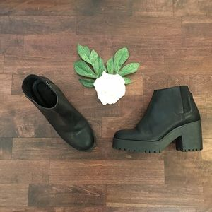 Zara Basic Black Chunky Sole Boots Sz 36/6